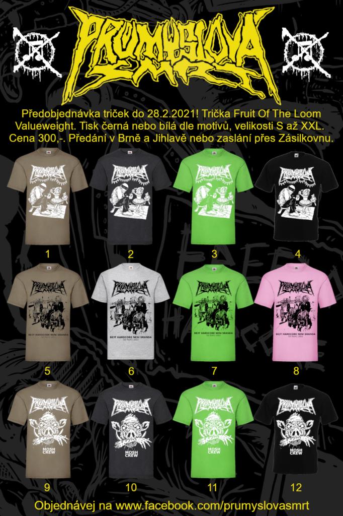PRŮMYSLOVÁ SMRT - PŘEDPRODEJ 12 motivů triček
